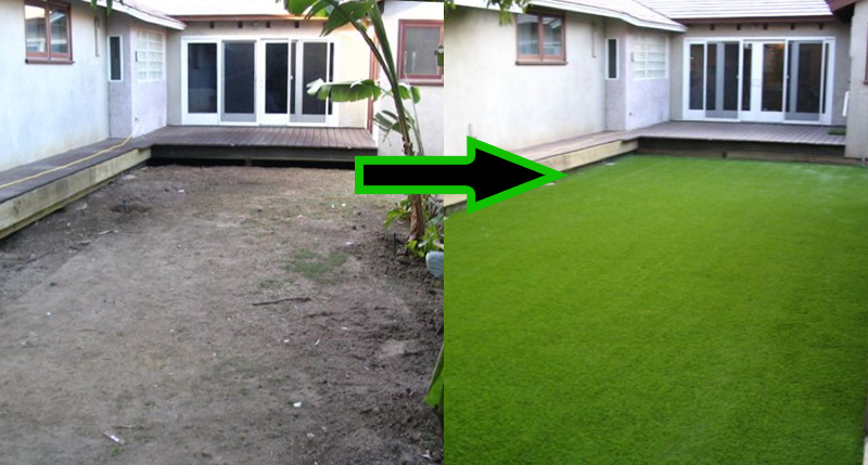 Artificial grass before and after photos